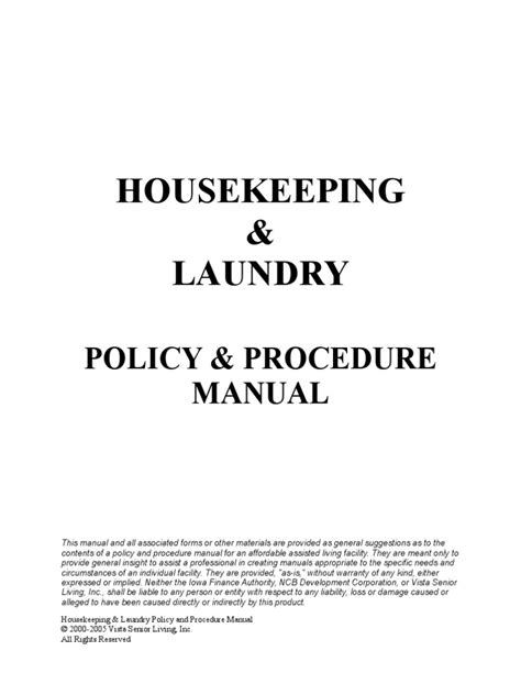 Housekeeping Policy And Procedure Manual Assisted Living
