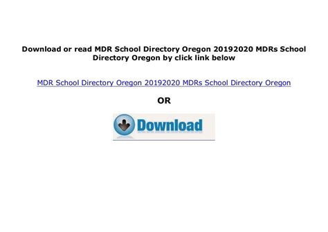 Mdrs School Directory Oregon 20052006