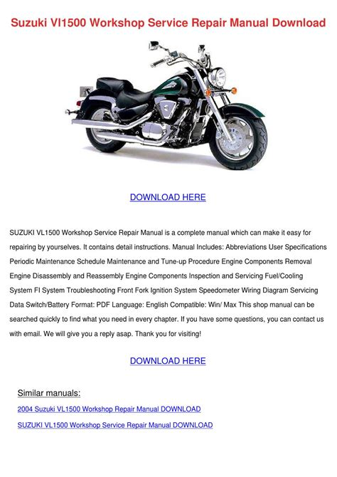 Suzuki Vl1500 Intruder Workshop Repair Manual Download 1998