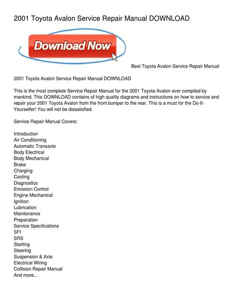 2004 Toyota Avalon Service Repair Manual Software